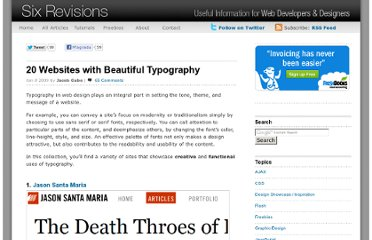 http://sixrevisions.com/web_design/20-websites-with-beautiful-typography/