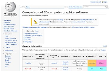 http://en.wikipedia.org/wiki/Comparison_of_3D_computer_graphics_software