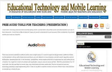 http://www.educatorstechnology.com/2012/02/free-audio-tools-for-teachers.html