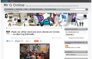 http://mgleeson.edublogs.org/2012/04/03/ipads-and-literature-circles/