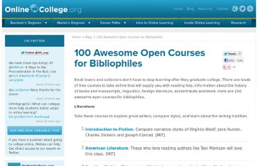 http://www.onlinecollege.org/2009/11/10/100-awesome-open-courses-for-bibliophiles/