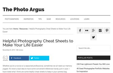 http://www.thephotoargus.com/resources/helpful-photography-cheat-sheets-to-make-you-life-easier/