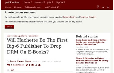 http://paidcontent.org/2012/03/31/419-will-hachette-be-the-first-big-6-publisher-to-drop-drm/