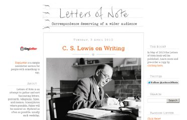 http://www.lettersofnote.com/2012/04/c-s-lewis-on-writing.html