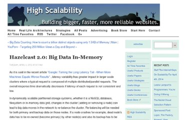 http://highscalability.com/blog/2012/4/3/hazelcast-20-big-data-in-memory.html