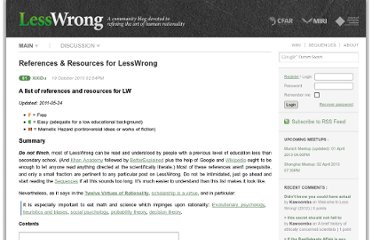http://lesswrong.com/lw/2un/references_resources_for_lesswrong/