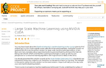 http://www.codeproject.com/Articles/336147/Large-Scale-Machine-Learning-using-NVIDIA-CUDA
