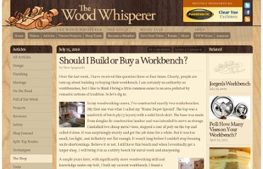 http://www.thewoodwhisperer.com/articles/should-i-build-or-buy-a-workbench/