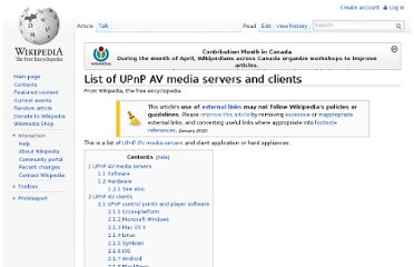 http://en.wikipedia.org/wiki/List_of_UPnP_AV_media_servers_and_clients#Software