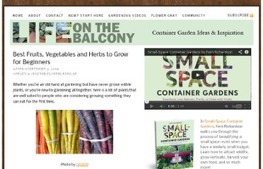 http://lifeonthebalcony.com/best-fruits-vegetables-and-herbs-to-grow-for-beginners/