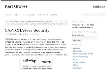 http://www.karlgroves.com/2012/04/03/captcha-less-security/