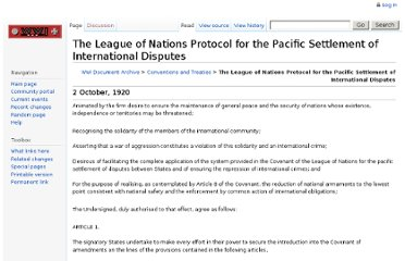 http://wwi.lib.byu.edu/index.php/The_League_of_Nations_Protocol_for_the_Pacific_Settlement_of_International_Disputes