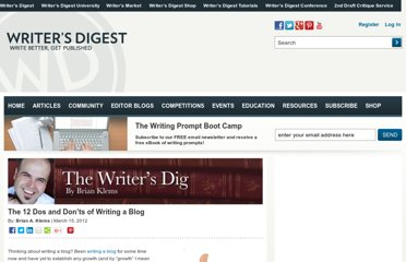 http://www.writersdigest.com/online-editor/the-12-dos-and-donts-of-writing-a-blog