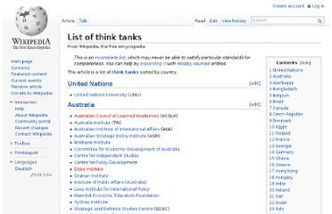 http://en.wikipedia.org/wiki/List_of_think_tanks
