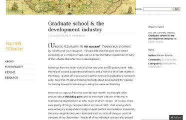 http://rachelstrohm.com/2012/01/03/graduate-school-the-development-industry/
