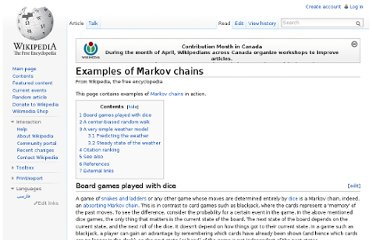 http://en.wikipedia.org/wiki/Examples_of_Markov_chains