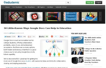 http://edudemic.com/2012/04/50-little-known-ways-google-docs-can-help-in-education/