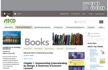 http://www.ascd.org/publications/books/103110/chapters/Implementing-Understanding-by-Design@-A-Summary-of-Lessons-Learned.aspx