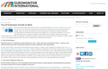 http://blog.euromonitor.com/2012/03/top-10-consumer-trends-of-2012.html
