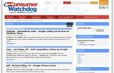 http://www.consumerwatchdog.org/search/apachesolr_search/google?filters=type%3Acomplaint