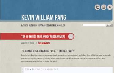 http://www.kevinwilliampang.com/2008/08/28/top-10-things-that-annoy-programmers/