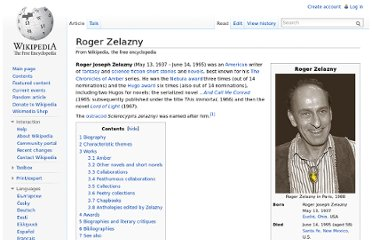 http://en.wikipedia.org/wiki/Roger_Zelazny#Published_works