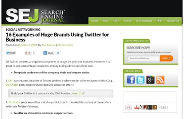 http://www.searchenginejournal.com/16-examples-of-huge-brands-using-twitter-for-business/7792/