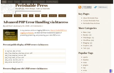 http://perishablepress.com/advanced-php-error-handling-via-htaccess/