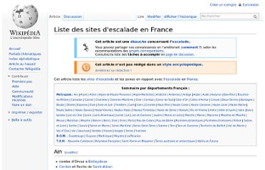http://fr.wikipedia.org/wiki/Liste_des_sites_d%27escalade_en_France