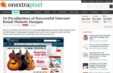 http://www.onextrapixel.com/2012/04/06/10-peculiarities-of-successful-internet-retail-website-designs/
