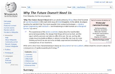 http://en.wikipedia.org/wiki/Why_The_Future_Doesn%27t_Need_Us