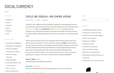 http://roisucks.wordpress.com/2012/04/05/circle-me-empire-avenue-google-interview/