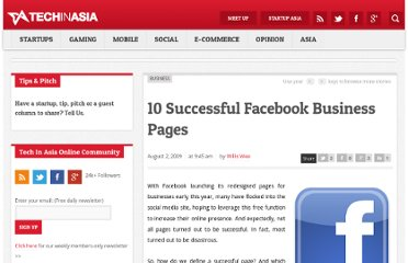 http://www.techinasia.com/10-successful-facebook-business-pages/