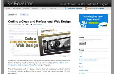 http://sixrevisions.com/tutorials/web-development-tutorials/code-clean-professional-web-design/