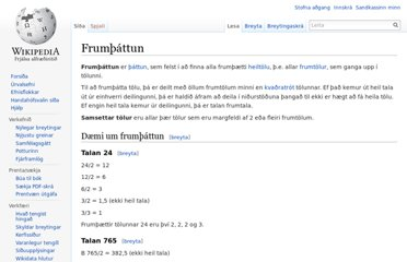 http://is.wikipedia.org/wiki/Frum%C3%BE%C3%A1ttun