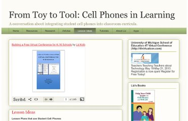 http://cellphonesinlearning.blogspot.com/p/lesson-ideas.html