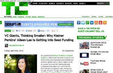 http://techcrunch.com/2012/04/06/kleiner-perkins-aileen-lee-seed-funding-interview/