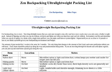 http://zenbackpacking.net/BackpackingPackingListUltralight.htm