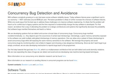 http://sampa.cs.washington.edu/sampa/Concurrency_Bug_Detection_and_Avoidance