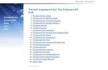 http://www.peterkreeft.com/topics-more/20_arguments-gods-existence.htm