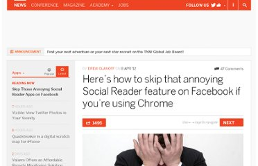 http://thenextweb.com/apps/2012/04/08/heres-how-to-skip-that-annoying-social-reader-feature-on-facebook-if-youre-using-chrome/