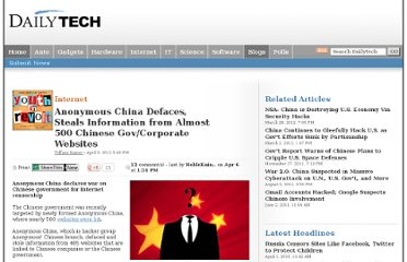 http://www.dailytech.com/Anonymous+China+Defaces+Steals+Information+from+Almost+500+Chinese+GovCorporate+Websites/article24396.htm