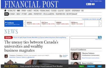 http://business.financialpost.com/2012/03/09/influence-u-the-uneasy-ties-between-canadas-universities-and-wealthy-business-magnates/