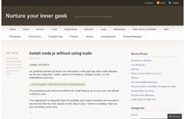 http://increaseyourgeek.wordpress.com/2010/08/18/install-node-js-without-using-sudo/