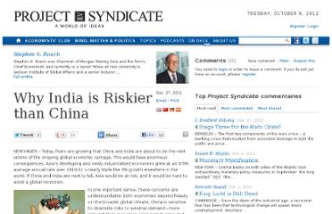http://www.project-syndicate.org/commentary/why-india-is-riskier-than-china