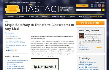 http://hastac.org/blogs/cathy-davidson/2012/04/08/single-best-free-way-transform-classroom-primary-lifelongl-any-size-
