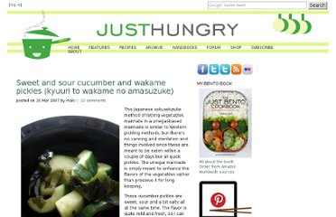http://www.justhungry.com/sweet-and-sour-cucumber-and-wakame-pickles