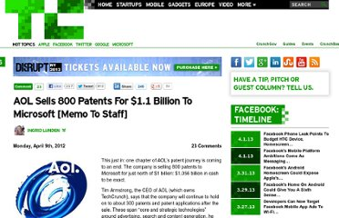 http://techcrunch.com/2012/04/09/aol-sells-800-patents-for-1-billion-to-microsoft-memo-to-staff/