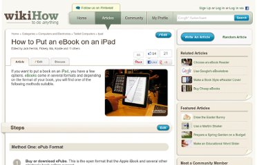 http://www.wikihow.com/Put-an-eBook-on-an-iPad