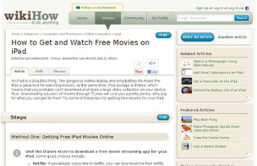 http://www.wikihow.com/Get-and-Watch-Free-Movies-on-iPad